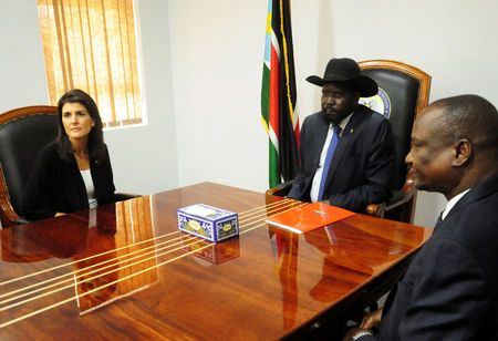U.S. Ambassador to the United Nations Nikki Haley meets South Sudan's President Salva Kiir and First Vice President Taban Deng Gai in Juba U.S. Ambassador to the United Nations Nikki Haley meets South Sudan's President Salva Kiir and First Vice President Taban Deng Gai in Juba, South Sudan October 25, 2017. REUTERS/Jok Solomun