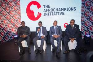 Samba Bathily, Michael Kottoh, Aliko Dangote, Albert Muchanga, AfroChampions Press panel