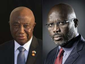 This combination of pictures created Oct. 16, 2017 shows, at left, Liberia's Vice President Joseph Boakai on Aug. 5, 2014, and former football player and candidate in Liberia's presidential elections, George Weah, Sept. 25, 2017.