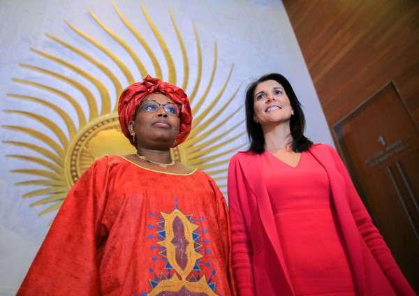 Nikki Haley, right, U.S. ambassador to the United Nations, and Minata Samate Cessouma, commissioner for political affairs of the African Union, at the African Union headquarters in Addis Ababa, Ethiopia, on Monday. (Meklit Mersha/AFP/Getty Images)
