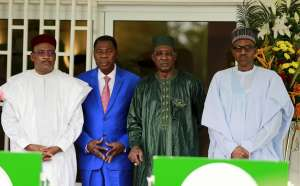Presidents Issoufou, Yayi, Deby and Buhari at a meeting of the Lake Chad Basin Commission, the body in charge of the lake replenishment project REUTERS/Afolabi Sotunde