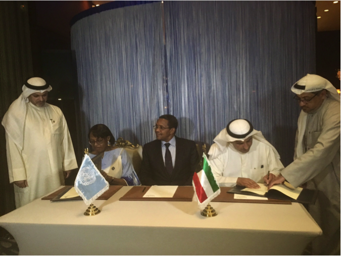 The Kuwait Fund Director General, Abdulwahab Al Bader, World Health Organization Regional Director for Africa, Dr. Matshidiso Rebecca Moeti and His Excellency Jakaya Kikwete at a formal signing of Kuwait Fund's commitment in support of the World Health Organization's Expanded Special Project for Elimination of Neglected Tropical Diseases