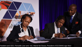 File picture CCA's Florie Liser signing MOU with Ecowas President Marcel De Souza.The CCA continues toplay a leading role in the promotion of trade between the USA and Africa
