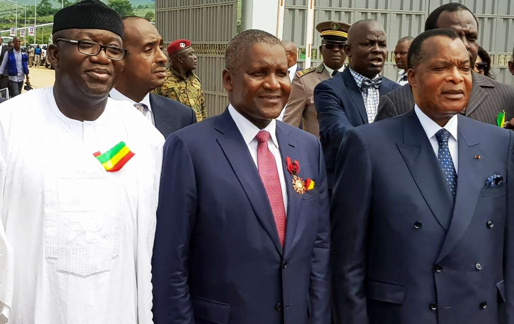 L-R: Representative of President Mohammadu Buhari, the Minister of Mines and Steel Development, Dr. Kayode Fayemi; President/CE, Dangote Group, Aliko Dangote; President of the Republic of Congo, Denis Sassou Nguesso, at the commissioning of 1.5MMTPA Dangote Cement Plant, Congo, held in the Republic of Congo on Thursday November 23, 2017