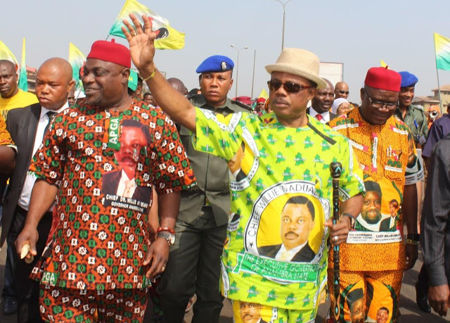 L-R) Chief Victor Ike Oye, National Chairman of APGA, Chief Willie Obiano, Governor of Anambra State