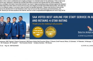 SOUTH AFRICAN AIRWAYS AWARDED WITH TOP HONORS BY TRAVEL WEEKLY