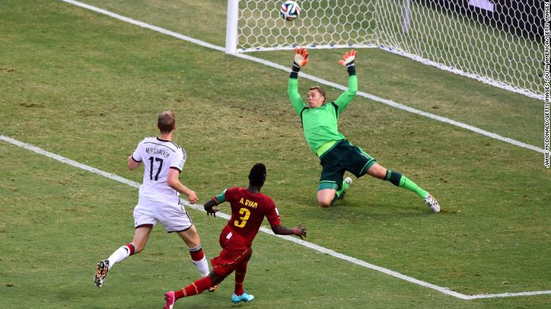 Gyan scores against Germany at the 2014 World Cup.