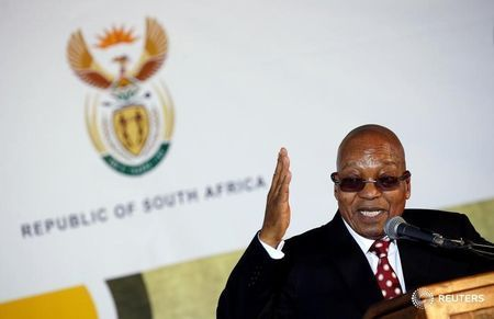 South Africa's President Jacob Zuma gestures as he addresses a National Youth Day commemoration, in Ventersdorp, South Africa June 16, 2017. REUTERS/Siphiwe Sibeko/File Photo
