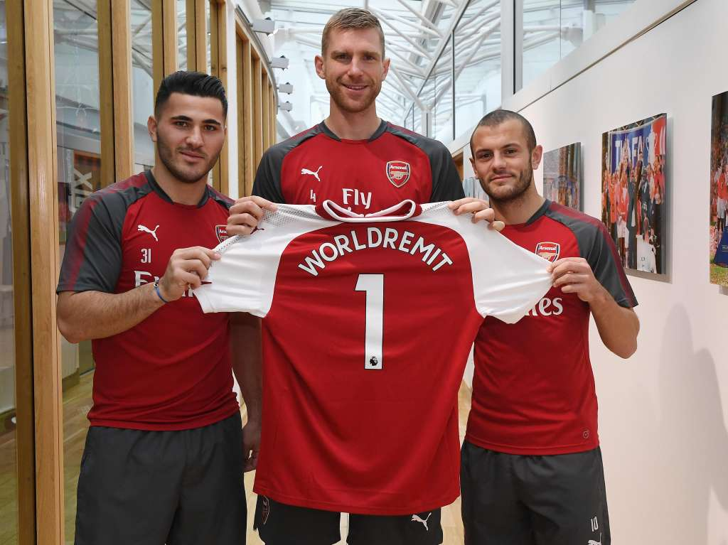 From Left to Right) - New signing, 1st XI defender, Sead Kolasinac; Arsenal Club Captain, Per Mertesacker; 1st XI midfielder and Arsenal Academy graduate, Jack Wilshere