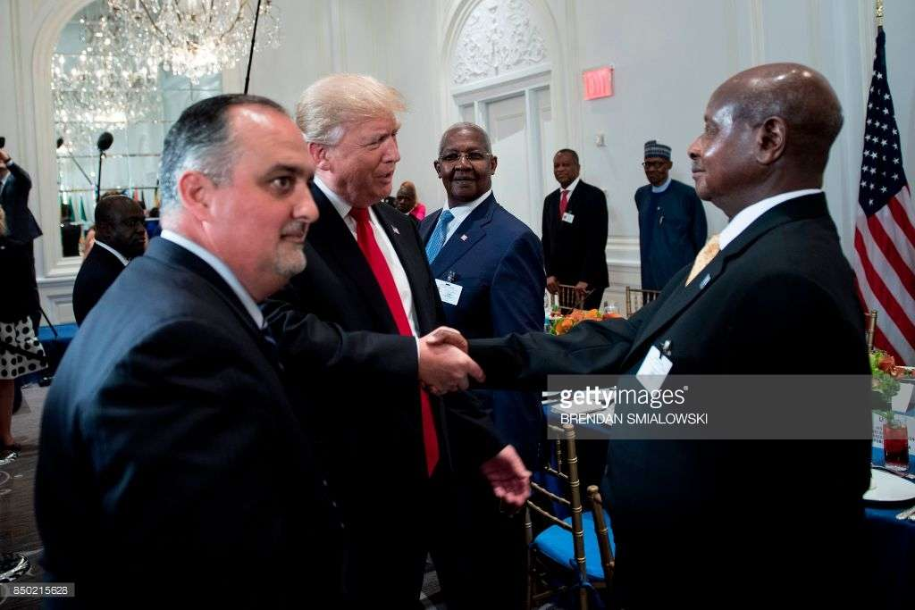 US President Donald Trump (C) greets Uganda's President Yowri Kaguta Museveni (R), stepping uo trade will be a win win for both countries says Ambassador Katende who as he markets opportunities in Ugand to American investors
