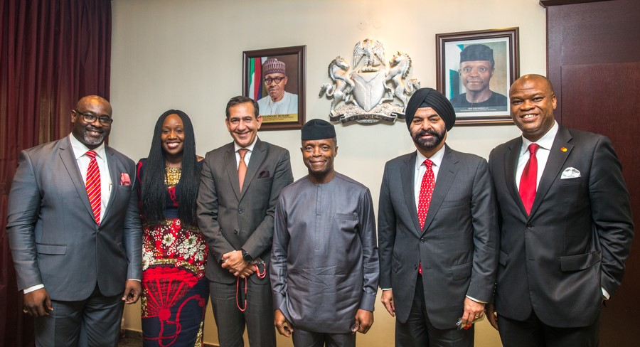 From Left to Right: Paul Tswanya, Vice President, Government Services&Solutions, Mastercard; Omokehinde Adebanjo (Vice President and Area Business Head, West Africa, Mastercard); Raghu Malhotra (President, Middle East and Africa, Mastercard); His Excellency The Vice President of Nigeria, Prof. Yemi Osinbajo SAN, GCON; Ajay Banga, President and CEO, Mastercard