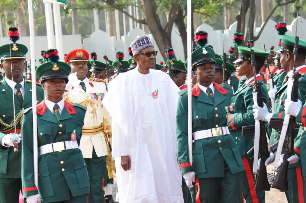 President Muhammadu Buhari inspecting Guard of Honour by Nigerian Army during a special 74th Birthday Parade