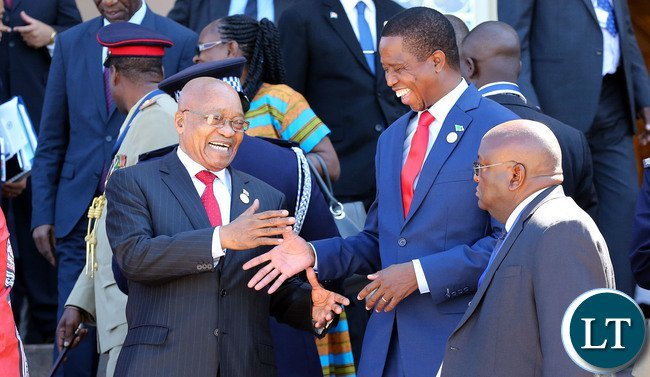 South Africa's Zuma and President Lungu of Zambia at a previous SADC meeting