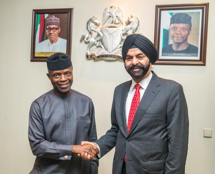 The Vice President of Nigeria, Prof. Yemi Osinbajo SAN, GCON with MasterCard CEO Ajay Banga