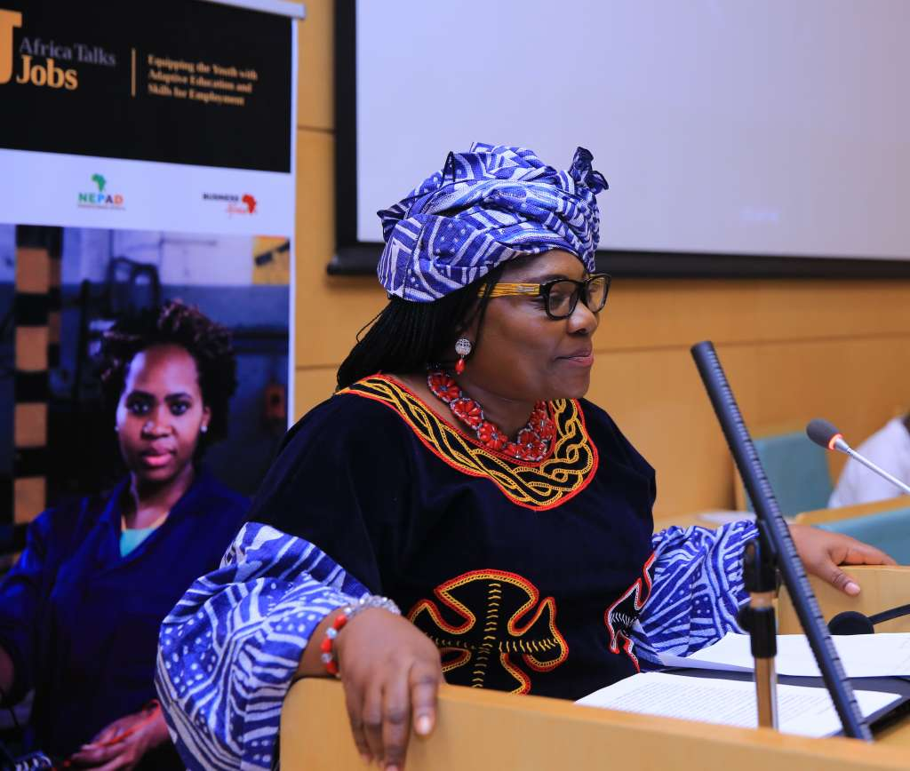 "AU Commissioner of Human Resources, Science and Technology, Prof. Sarah Anyang Agbor at ""Africa Talks Jobs"" conference"