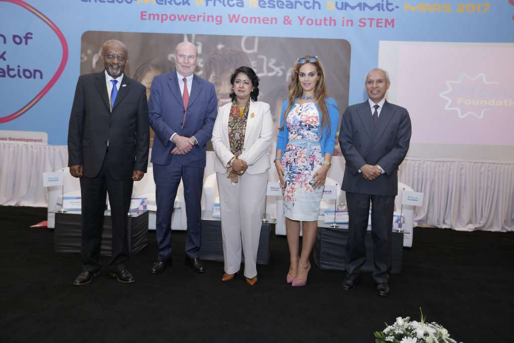 Prof. Frank Stangenberg-Haverkamp, Chairman of the Executive Board of E. Merck KG, and Dr. Rasha Kelej, CEO of Merck Foundation pose for a group photo with President of the Republic of Mauritius, Her Excellency Mrs. Ameenah Grurib-Fakim (centre) at the inauguration of the UNESCO Merck Africa Research Summit on November 28, 2017. Also with them are Mr. Getachew Engida, Deputy Director General of UNESCO (extreme left) and Dr. the Hon. Mohammad Anwar Husnoo, Minister of Health and Quality of Life, Republic, Mauritius (extreme right)