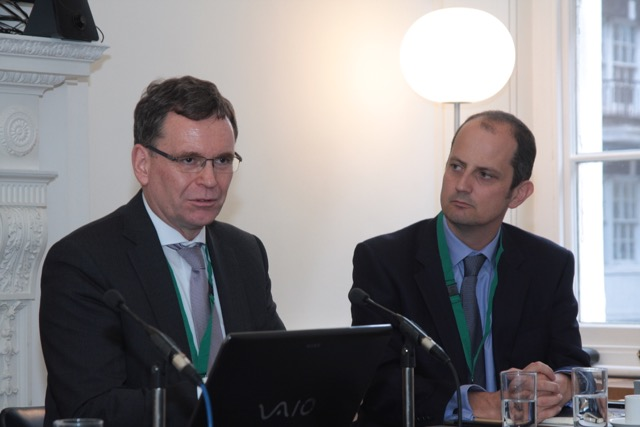 Left to right) Thomas Duve, Director Southern Africa and Regional Funds KfW Development Bank - and John Lentaigne, Chief Underwriting Officer, ATI
