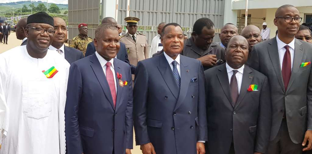 L-R: Representative of President Mohammadu Buhari, the Minister of Mines and Steel Development, Dr. Kayode Fayemi; President/CE, Dangote Group, Aliko Dangote; President of the Republic of Congo, Denis Sassou Nguesso; Prime Minister of Congo, Clement Mouamba and the Nigerian Minister of Industry, Trade and Investment, Dr. Okechukwu Enelemah at the commissioning of 1.5MMTPA Dangote Cement Plant, Congo, held in the Republic of Congo on Thursday November 23, 2017