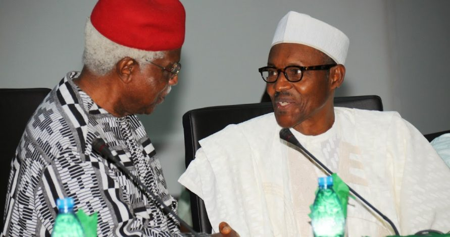 Dr. Alex Ekwueme with current Nigerian President Buhari