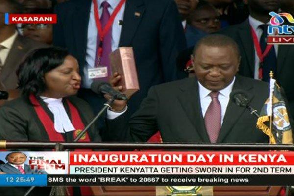 President Uhuru Kenyatta sworn for second term. PHOTO   NTV