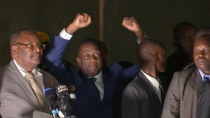 Emmerson Mnangagwa at his first public appearance since his return to Zimbabwe.