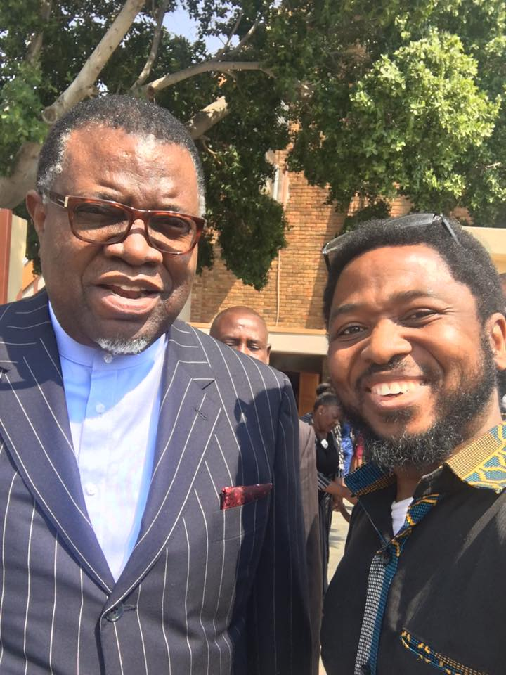 With President Hage Geingob of Namibia. Prof Mbarika regularly travels across Africa to harp on the merits of investing in ICT as a driver of development