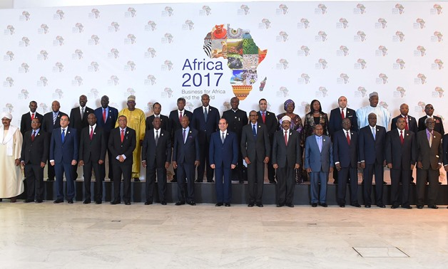 President Abdel Fatah al-Sisi and African leaders pose for a photo in the second day of the Africa 2017 Forum on Friday- press photo
