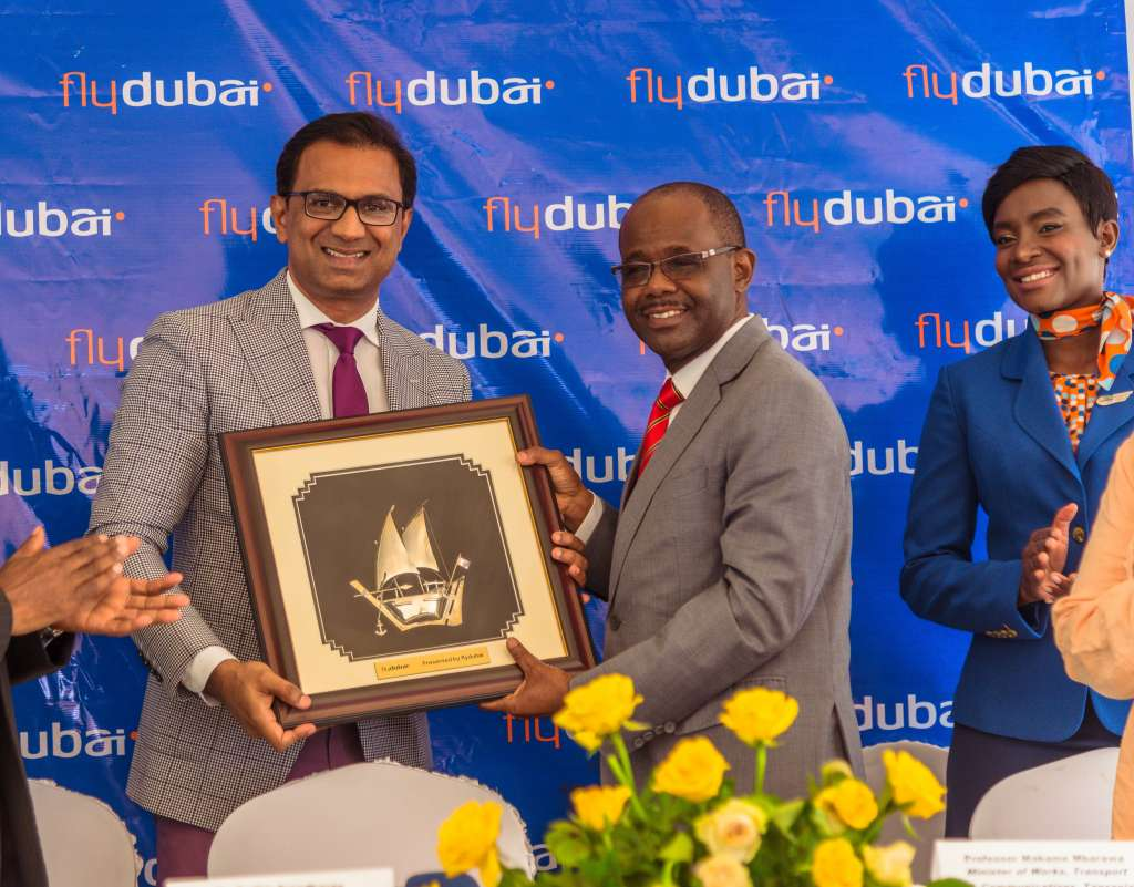 Sudhir Sreedharan, Senior Vice President, Commercial Operations (GCC, Subcontinent and Africa) for flydubai with Prof. Makame Mnyaa Mbarawa, Minister for Works, Transport and Communications of Tanzania on December 15, 2017 (Photo by APO Group)