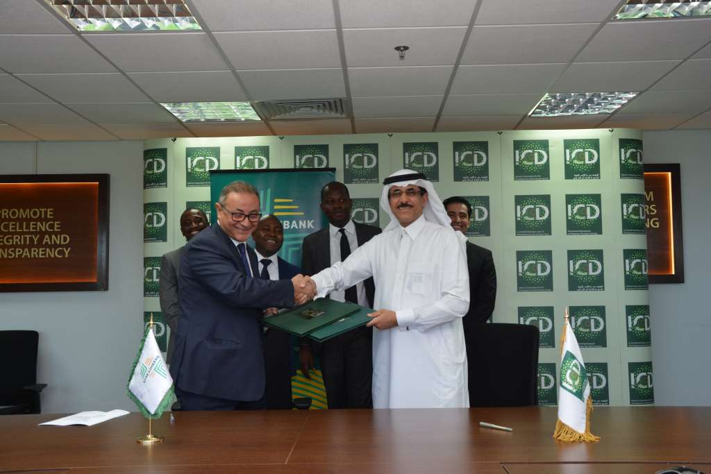 Afreximbank Executive Vice President Mr. Amr Kamel President (left) and Mr Khaled Al-Aboodi (right), CEO, Islamic Corporation for the Development of the Private Sector in handshake during the signing ceremony in Jeddah