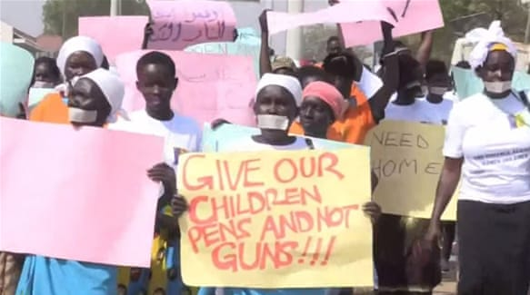The protesters in Juba said they wanted a better future for their children [Al Jazeera]