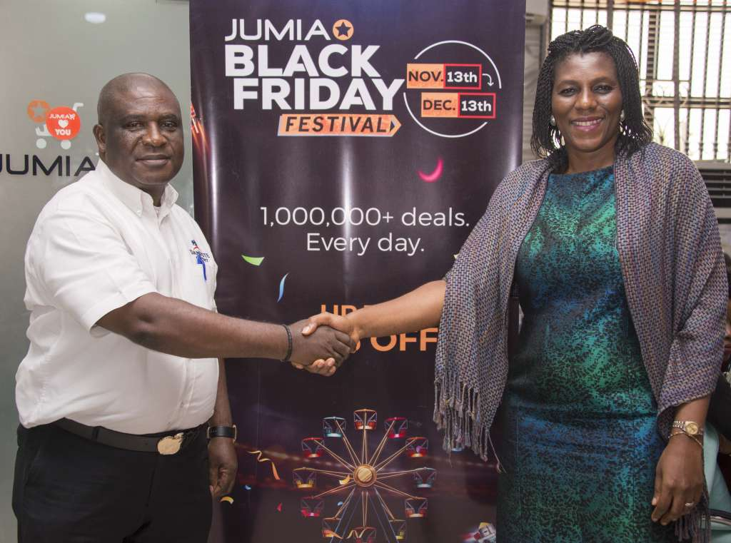 Dangote Cement Plc and the leading e-commerce platform, Jumia on the weekend signed a deal making the purchase of Dangote Cement available on the on-line retail outlet in Lagos. Key Account Director, Dangote Cement, Mr. Chux Mogolu (left) in a handshake with the Chief Executive Officer of Jumia Nigeria, Juliet Anammah after the flag-off of on-line purchase deal