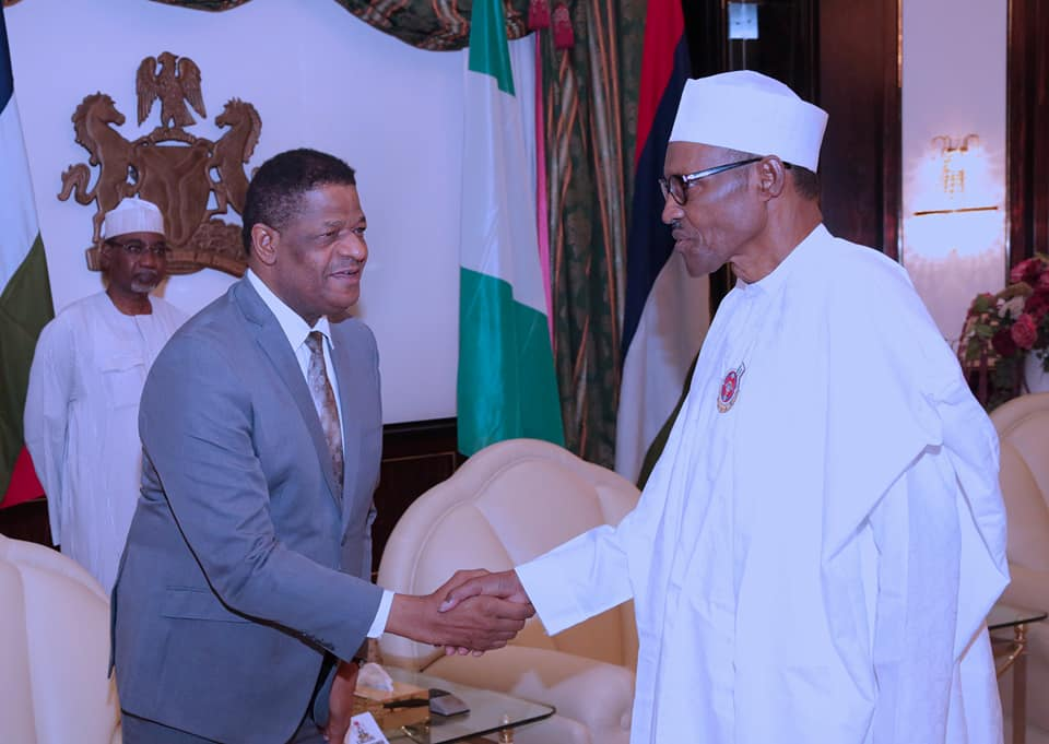 President Buhari receiving His Excellency Marcel A. de Souza, President of the ECOWAS Commission