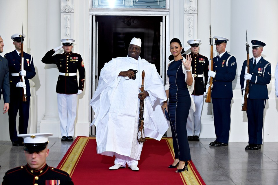 Former Gambian President Yahya Jammeh and First Lady Zineb Jammeh arrive for a dinner hosted by President Barack Obama in Washington, D.C. Susan Walsh / AP.Justice Minister Aboubacarr Tambadou is urging the US to include the former first lady on the list of those sanctioned.