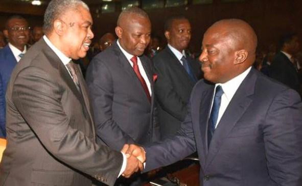 Samy Badibanga in a handshake with President Joseph Kabila