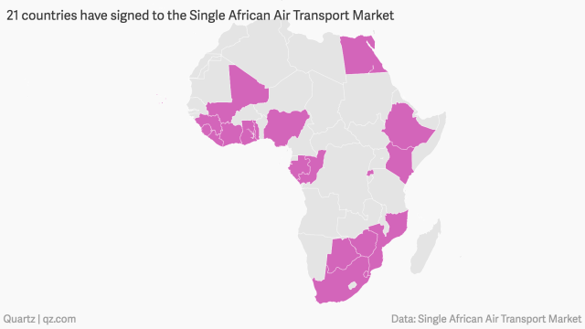 21 countries have-signed to the single african air transport market