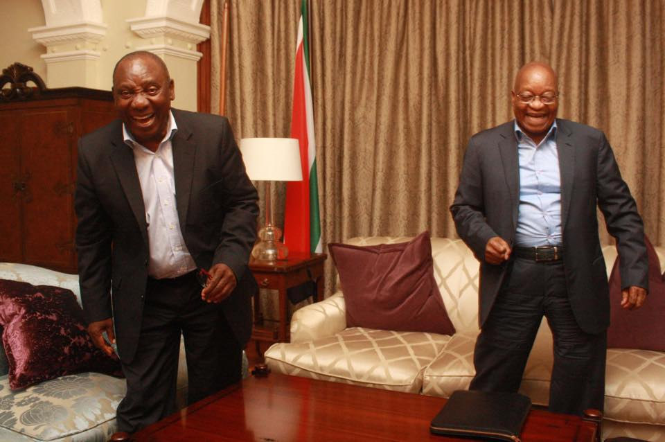 Ramaphosa and President Zuma were all smiles when they met recently