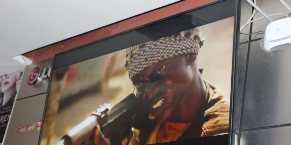 A scene from the film 'Watu wote' being displayed at the Junction in Nairobi where, the movie premiered Tuesday Night, Jan. 23, 2108. (R. Ombuor/VOA)