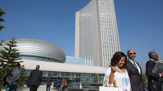 The Chinese built the African Union headquarters, which opened in 2012