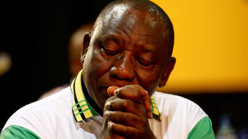 Newly elected president of the ANC Cyril Ramaphosa during the 54th National Conference of the ruling African National Congress (ANC) in Johannesburg, South Africa [Siphiwe Sibeko/Reuters]
