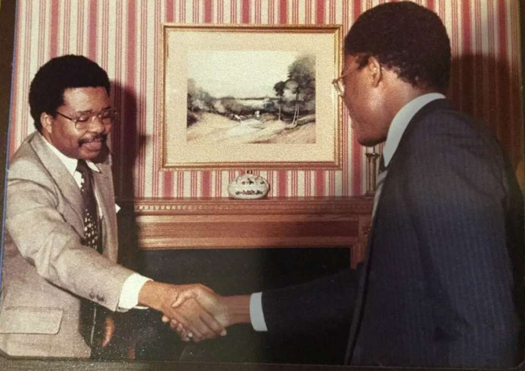 Professor Bolaji Akinyemi (left), on his first official visit to the United Kingdom after his appointment as Nigerian Foreign Minister, with Kayode Soyinka, then London Bureau Chief for Newswatch magazine.