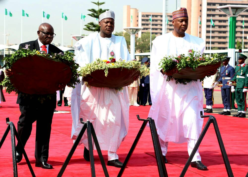Senate President,Sen. Bukola Saraki, Speaker House of Representatives, Rt.Hon. Yakubu Dogara and Chief Justice of Nigeria, Justice Walter Onnoghen, Laying the wreath at the 2018 Army Forces Remembrance Day at the National Arcade, Abuja on Monday January 15th,2018 Photos: Speaker's Media Office‎
