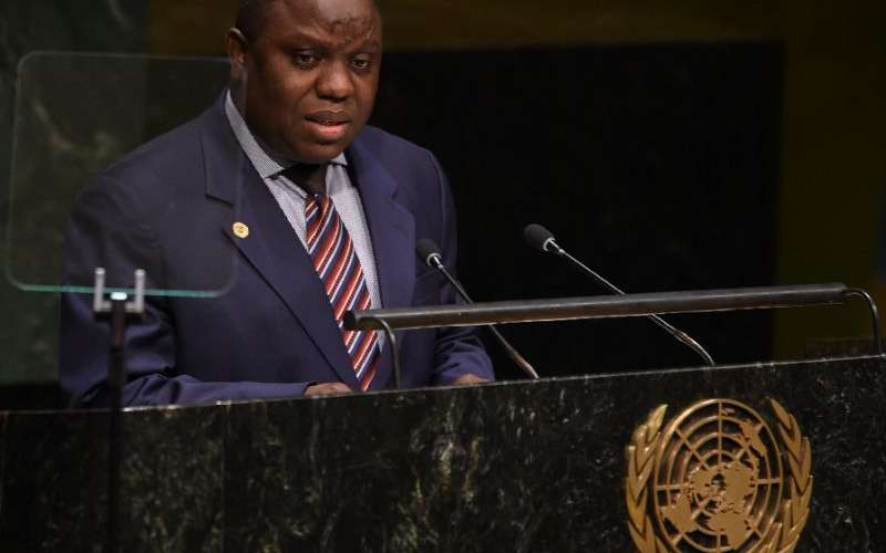 Foreign Minister of Zambia Harry Kalaba addresses the 69th session of the UN General Assembly in New York on September 26, 2014 (AFP Photo/DON EMMERT)