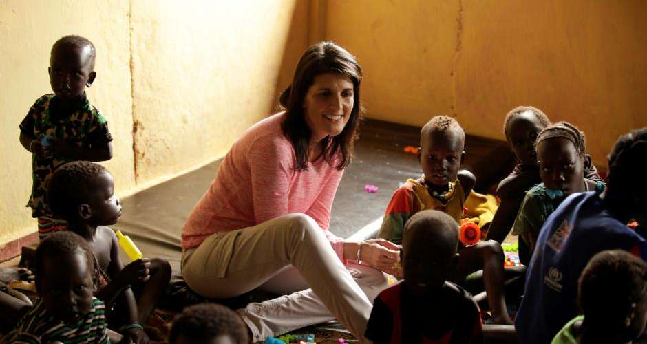 U.S. Ambassador to the United Nations Nikki Haley meets South Sudanese refugee children at the Nguenyyiel refugee camp in Gambella Region, Ethiopia October 24, 2017. REUTERS/Tiksa Negeri