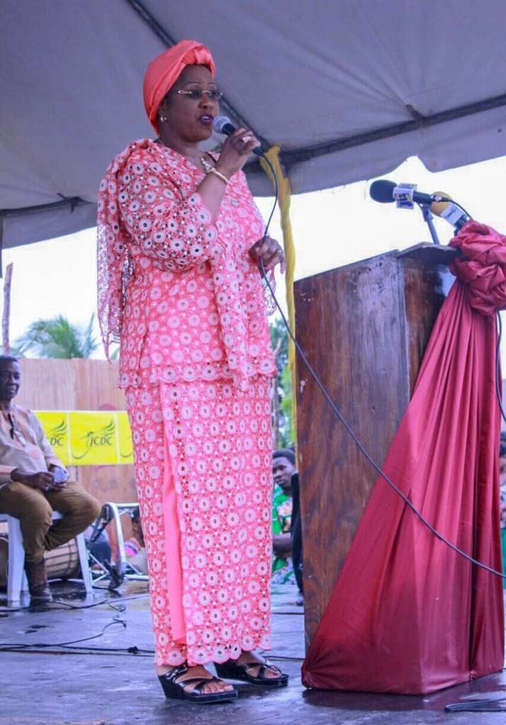 AU Ambassador Arikana Chihombori Quao addresses the nation during the 280th Accompong Maroon Festival and announces new AU Diaspora Headquarters to be built in Accompong.