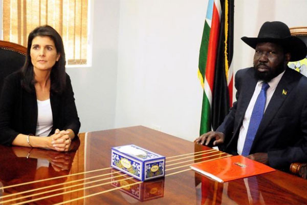 South Sudan President Salva Kiir meets US Ambassador to the United Nations Nikki Haley in Juba, South Sudan on October 25, 2017. PHOTO | REUTERS