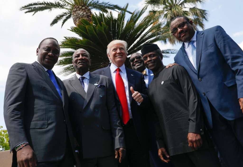 U.S. President Donald Trump (3rd from L) poses with (L-R) Kenya's President Uhuru Kenyatta, Guinea's President Alpha Conde, African Development Bank President Akinwumi Adesina, Vice-President of Nigeria Yemi Osinbajo and Ethiopian Prime Minister Hailemariam Desalegn for a photo after an expanded session at the Summit of the Heads of State and of Government of the G7 plus the European Union in Taormina, Sicily, on May 27. JONATHAN ERNST/AFP/GETTY