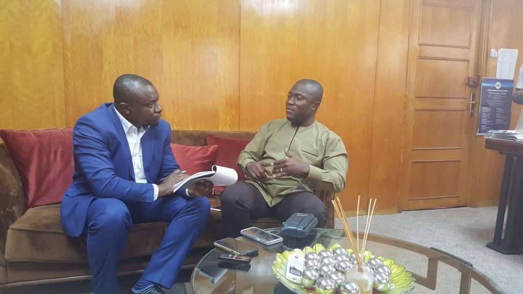 Hon Adjei Sowah with PAV's Ajong Mbapndah L at his AMA Office in Accara,Ghana