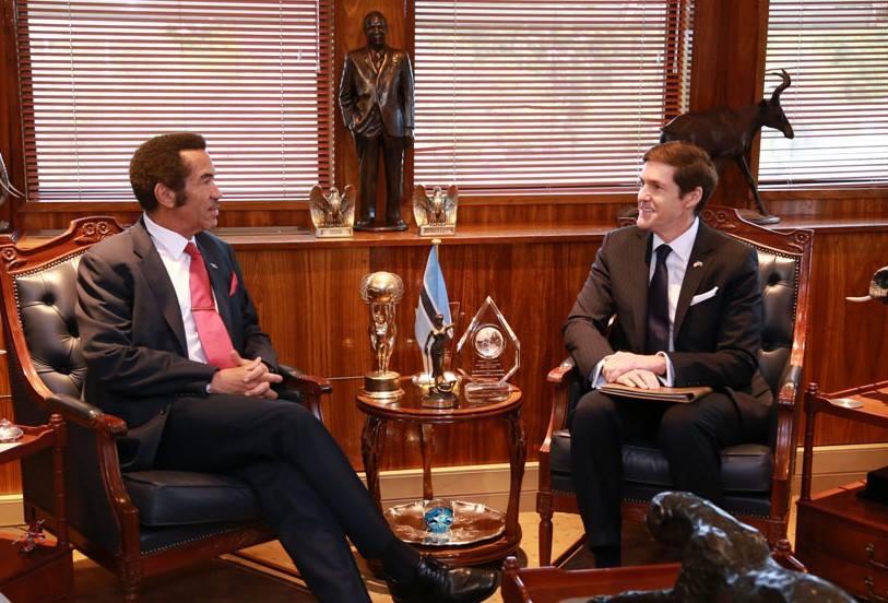Earl R. Miller, U.S. Ambassador to Botswana with President Khama