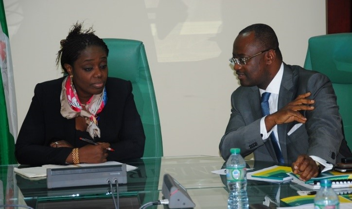 Kemi Adeosun, Minister of Finance of Nigeria, (left) and Dr. George Elombi, Afreximbank Executive Vice President, exchanging views during the meeting in Abuja.