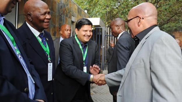 Atul Gupta shakes hands with President Zuma in 2012. Their relationship has come under scrutiny in recent years